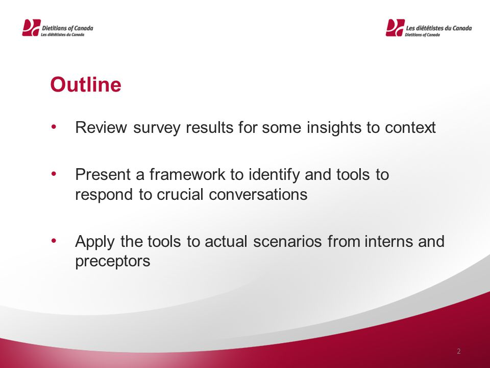 Outline Review survey results for some insights to context