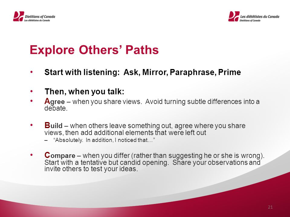 Explore Others' Paths Start with listening: Ask, Mirror, Paraphrase, Prime. Then, when you talk: