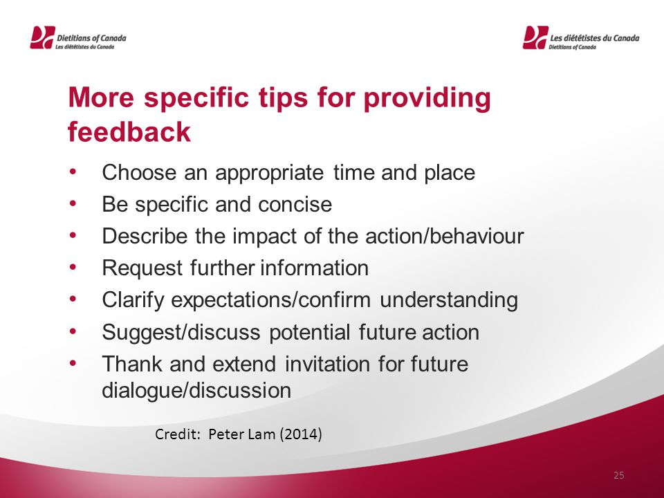 More specific tips for providing feedback