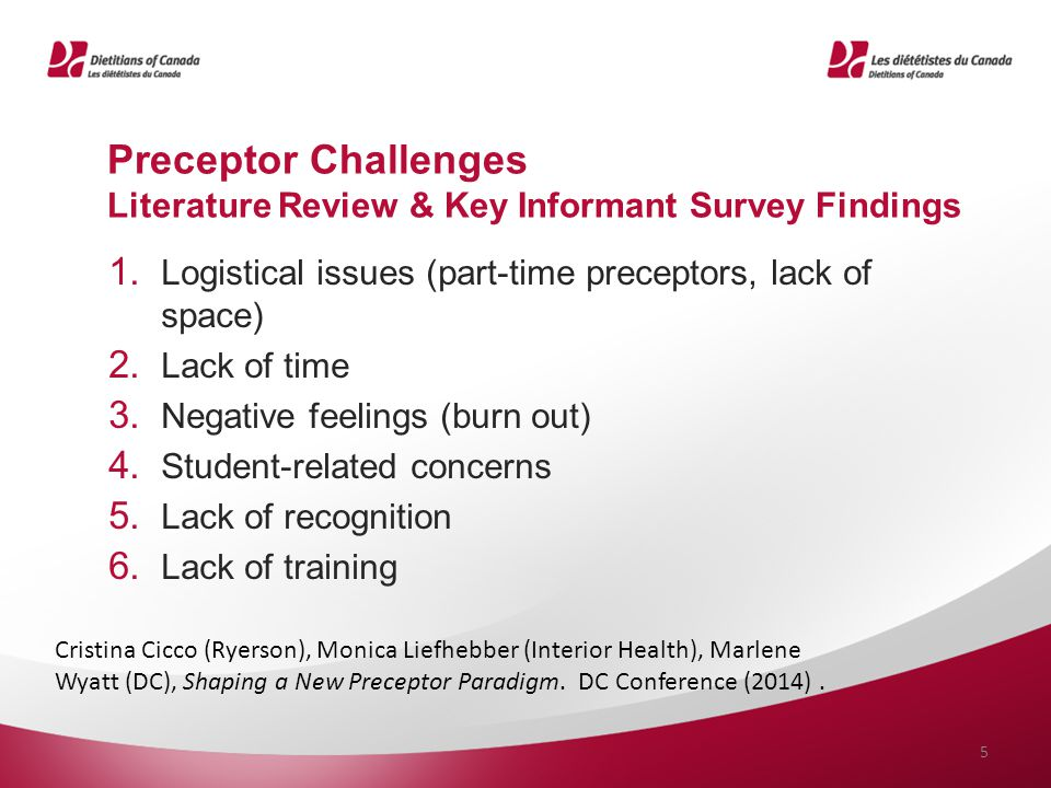 Preceptor Challenges Literature Review & Key Informant Survey Findings