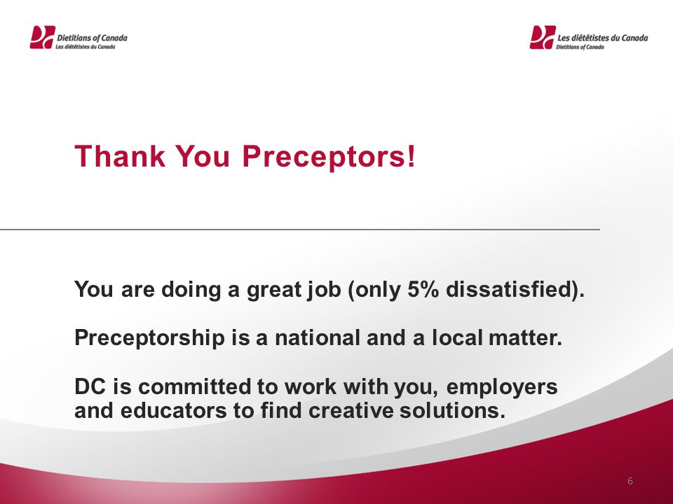 Thank You Preceptors! You are doing a great job (only 5% dissatisfied). Preceptorship is a national and a local matter.