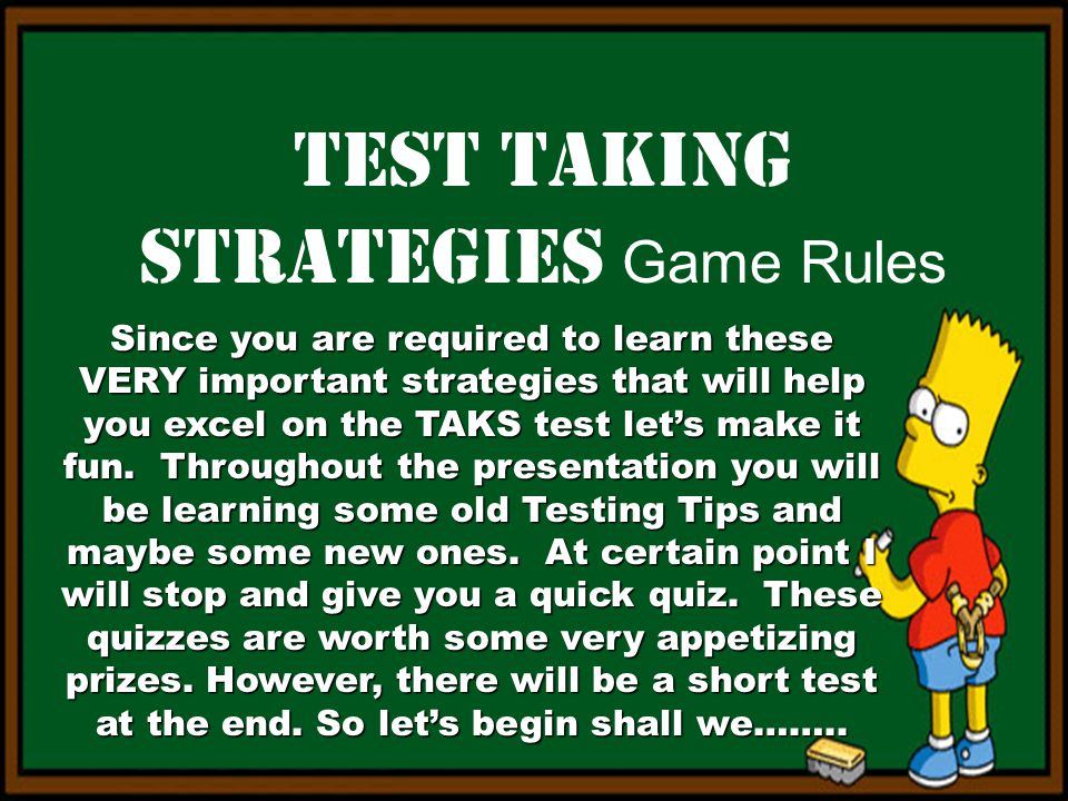 Test Taking Strategies Game Rules