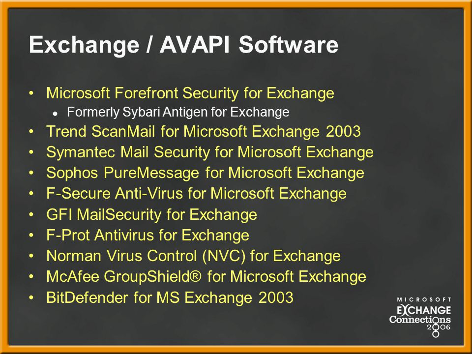 Exchange / AVAPI Software