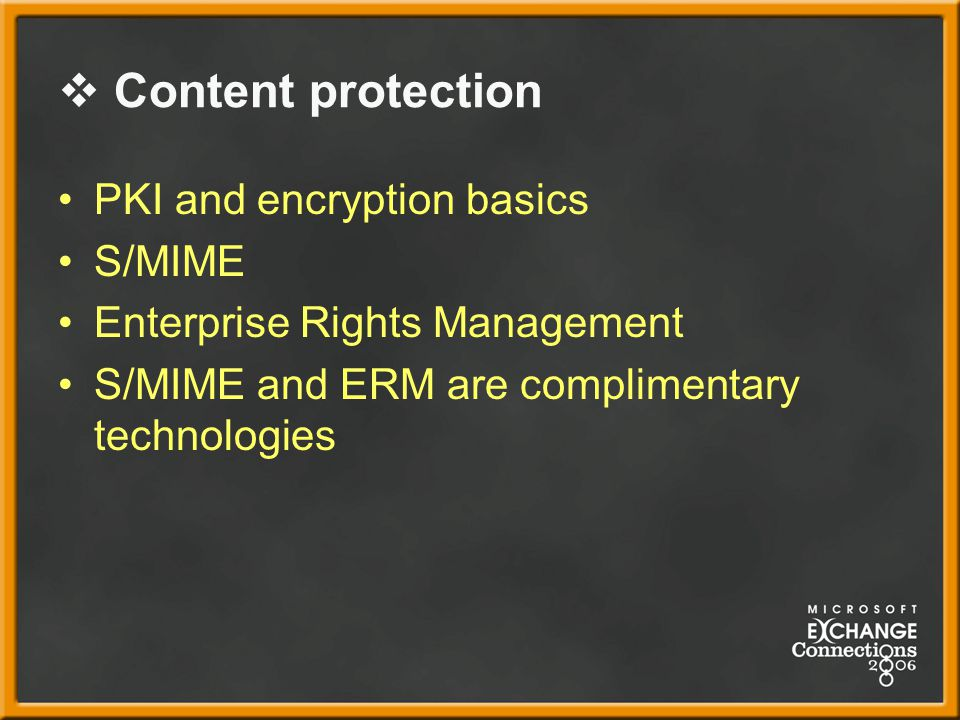 Content protection PKI and encryption basics S/MIME