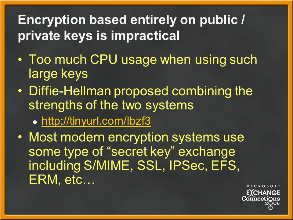 Encryption based entirely on public / private keys is impractical