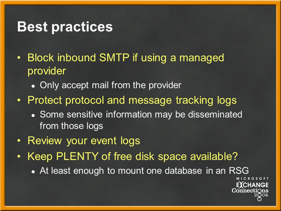 Best practices Block inbound SMTP if using a managed provider