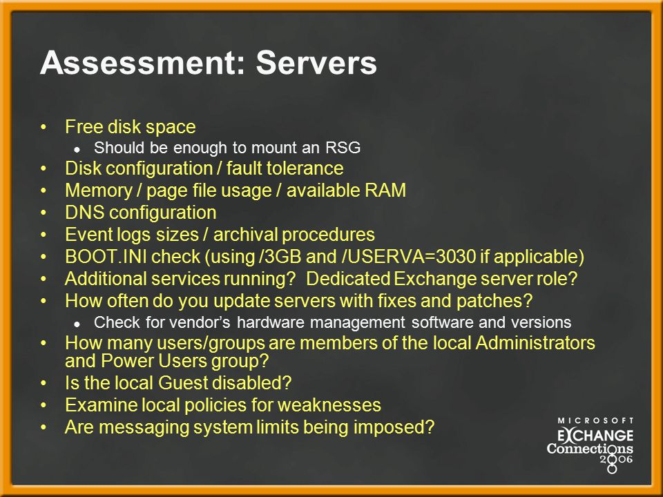 Assessment: Servers Free disk space