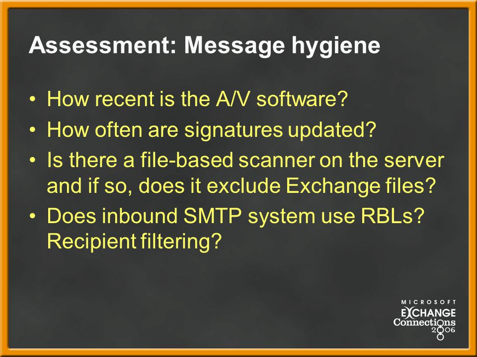 Assessment: Message hygiene