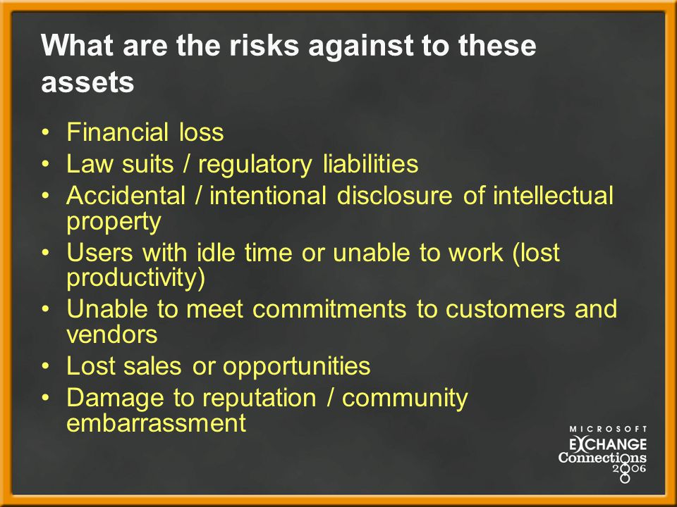 What are the risks against to these assets