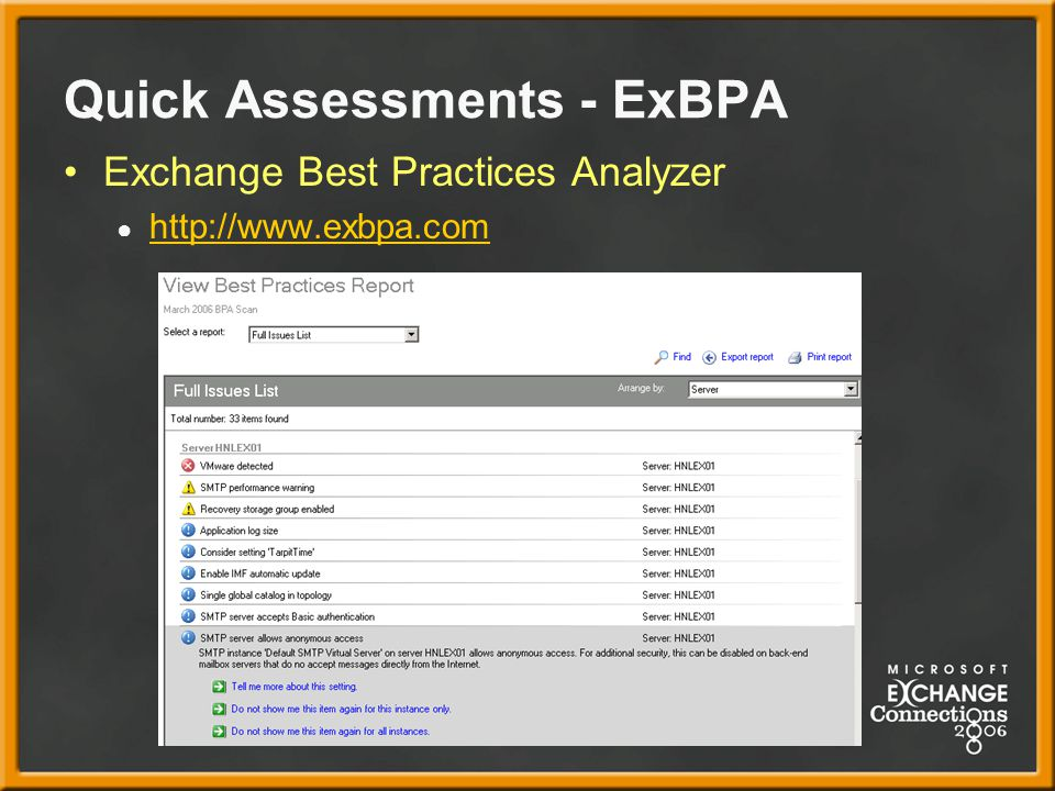 Quick Assessments - ExBPA