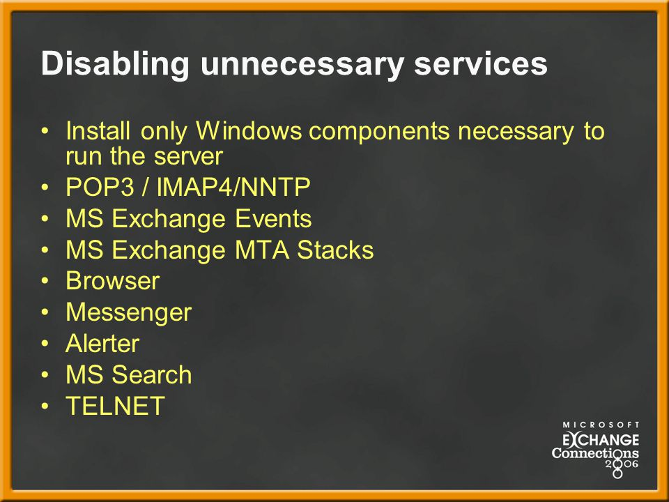 Disabling unnecessary services