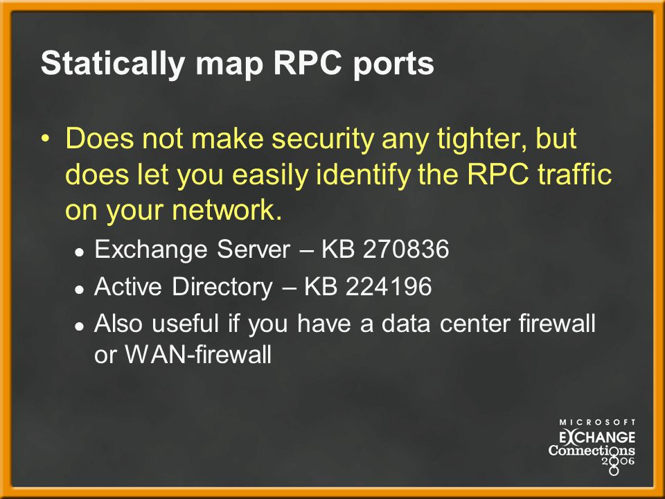 Statically map RPC ports