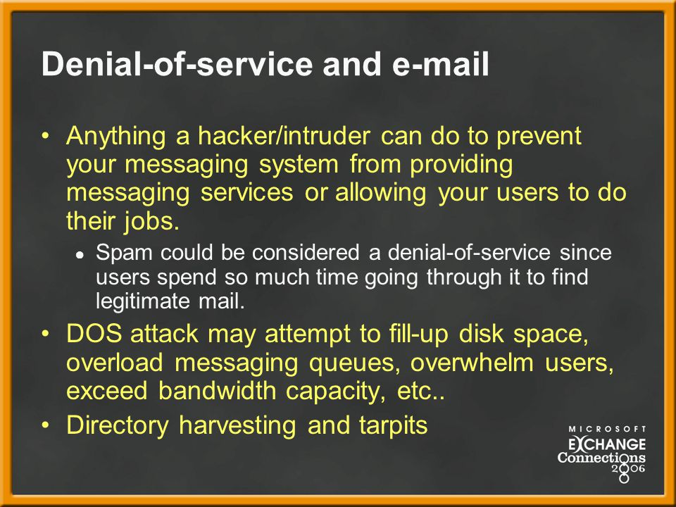 Denial-of-service and e-mail