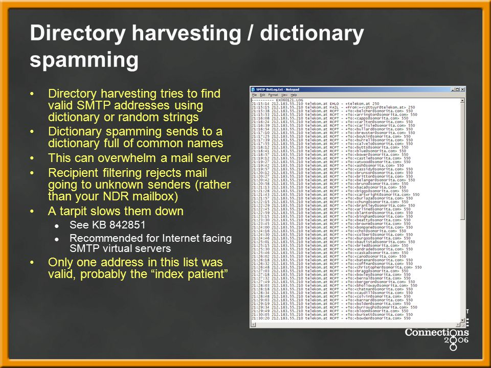 Directory harvesting / dictionary spamming
