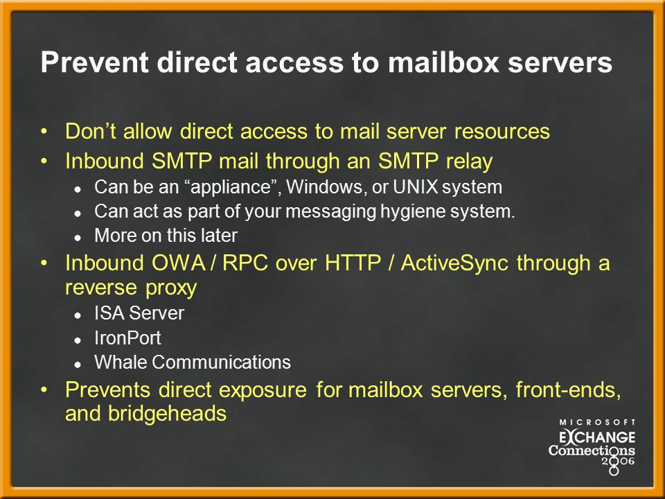 Prevent direct access to mailbox servers