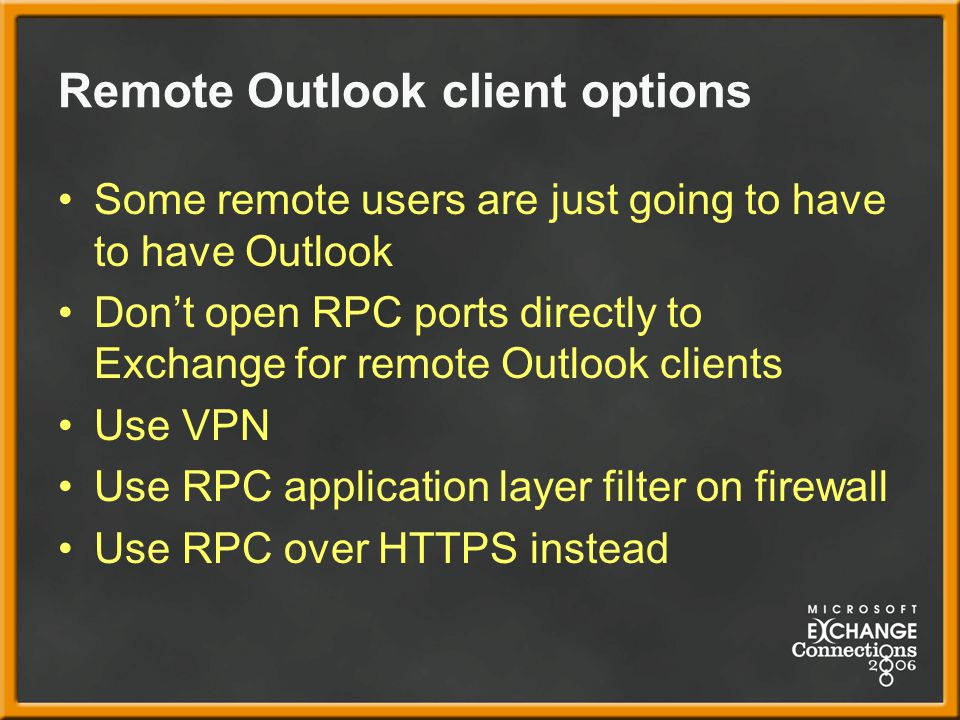 Remote Outlook client options