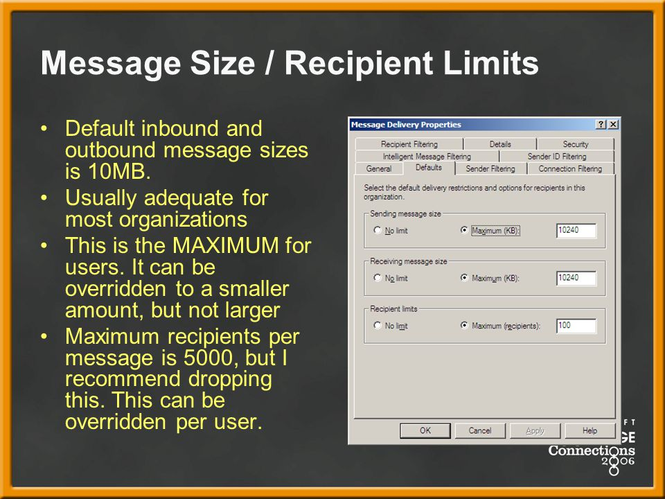Message Size / Recipient Limits