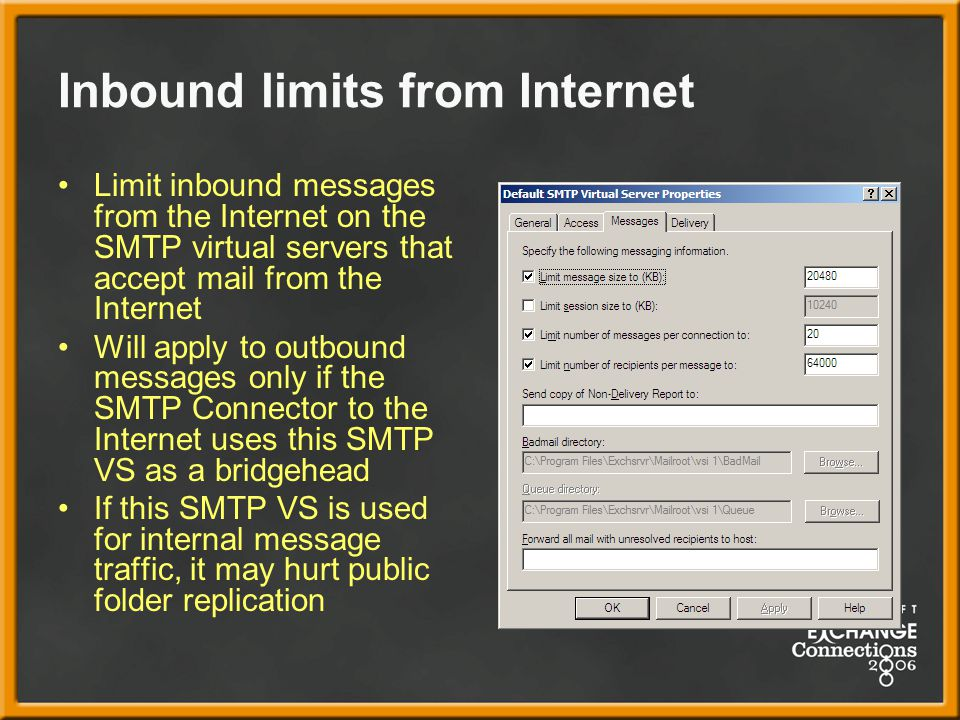 Inbound limits from Internet