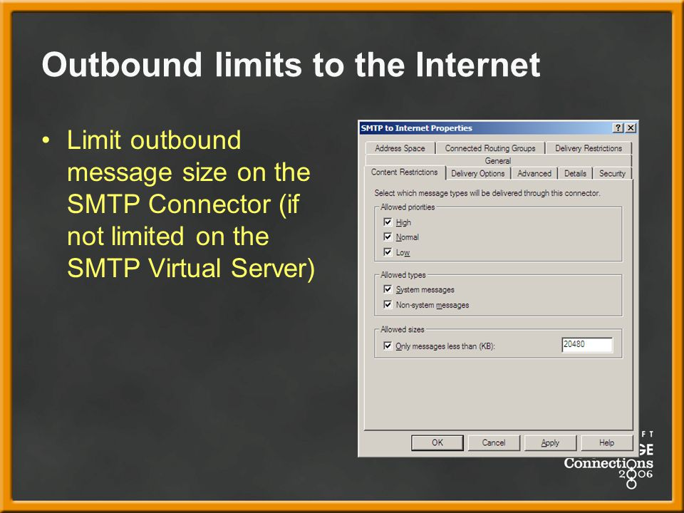 Outbound limits to the Internet