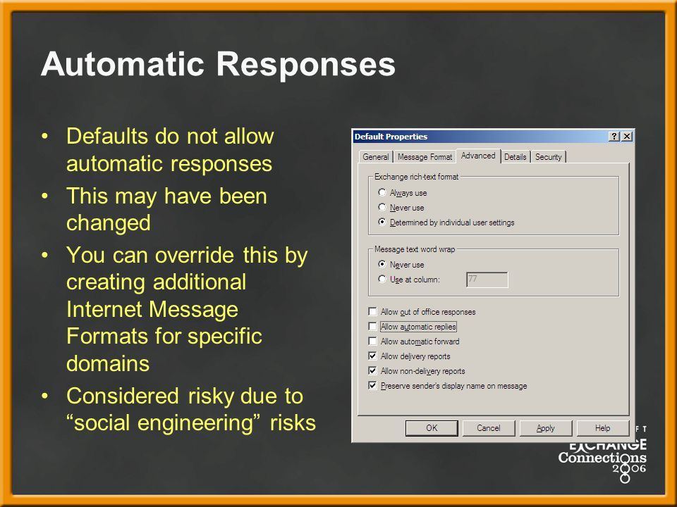 Automatic Responses Defaults do not allow automatic responses