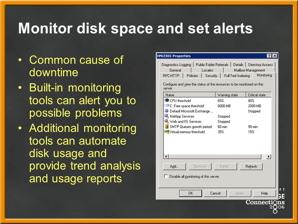 Monitor disk space and set alerts