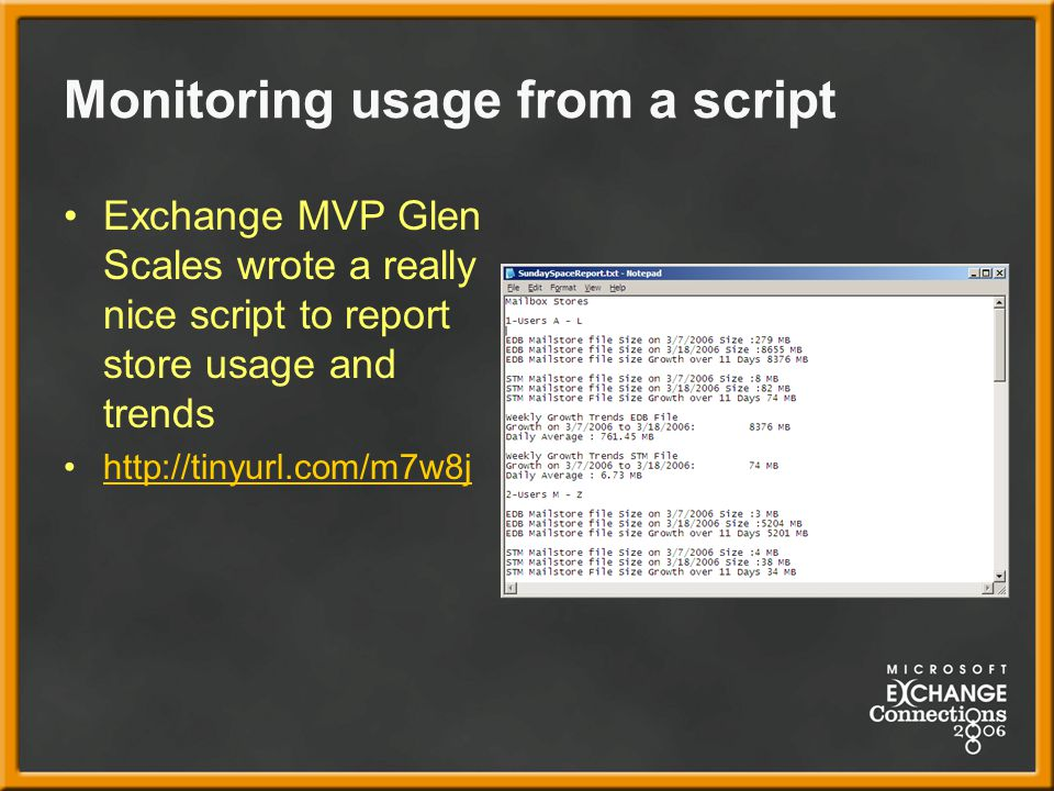 Monitoring usage from a script