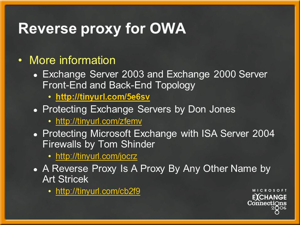 Reverse proxy for OWA More information