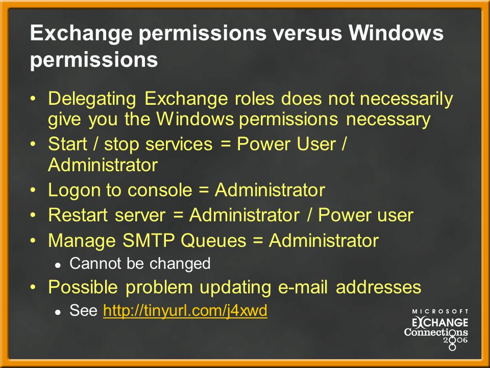 Exchange permissions versus Windows permissions