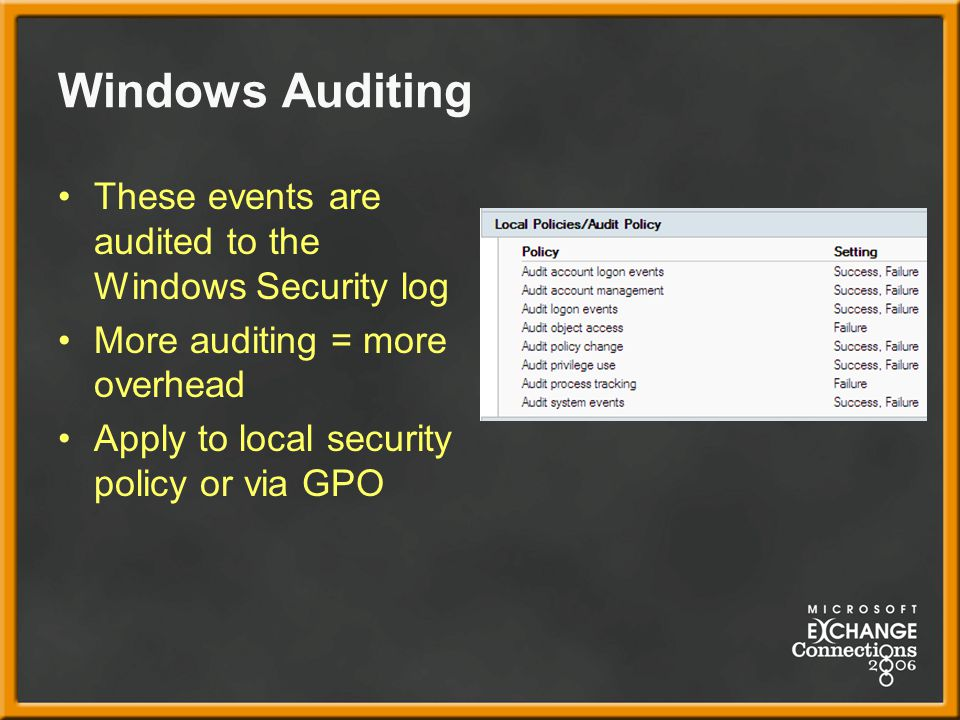 Windows Auditing These events are audited to the Windows Security log