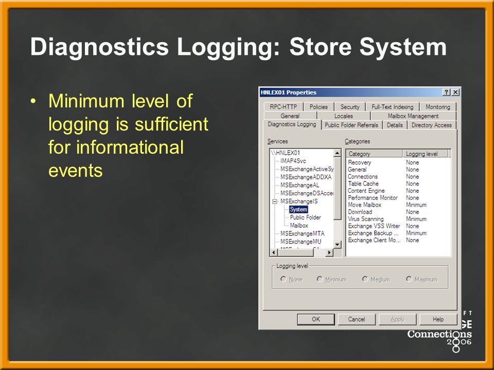 Diagnostics Logging: Store System