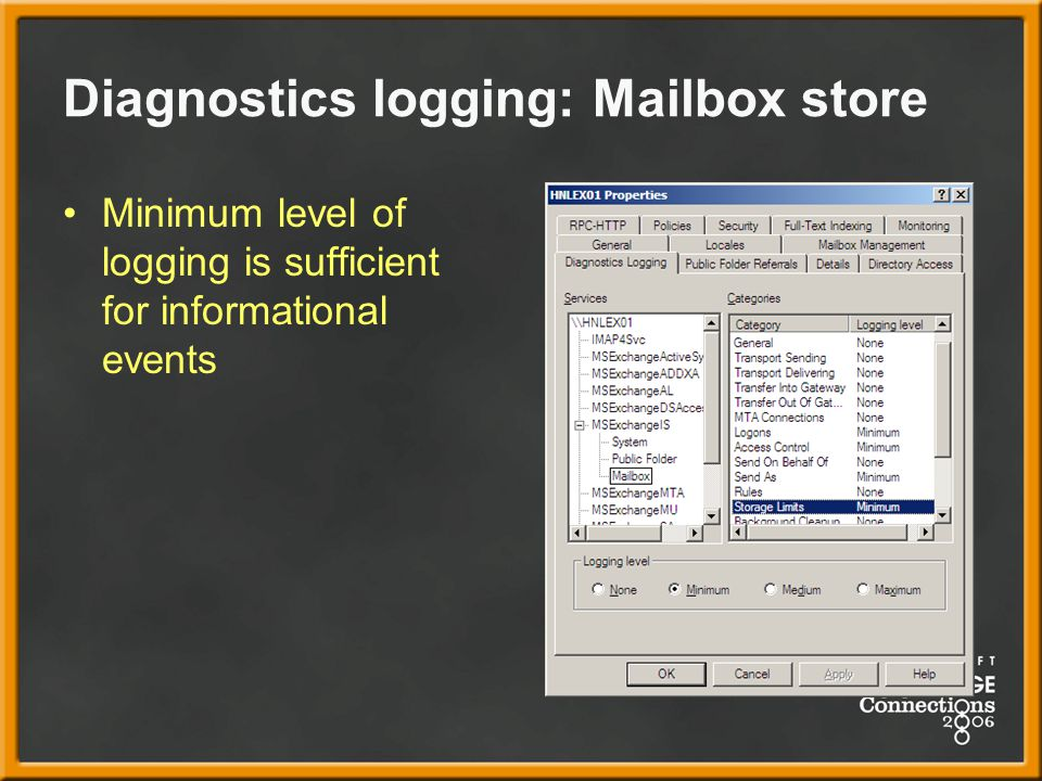 Diagnostics logging: Mailbox store