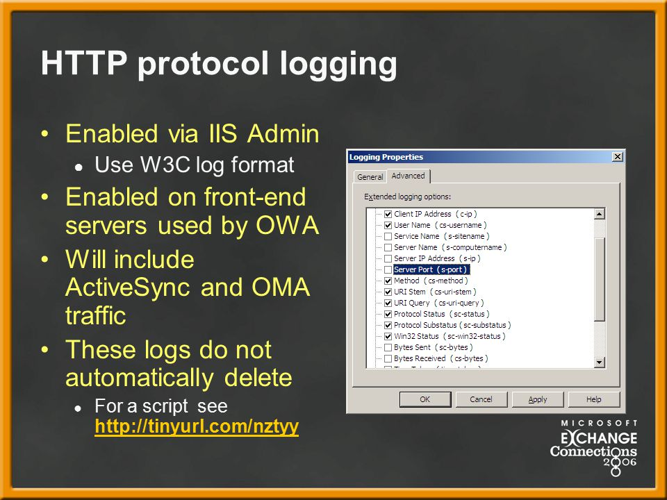 HTTP protocol logging Enabled via IIS Admin