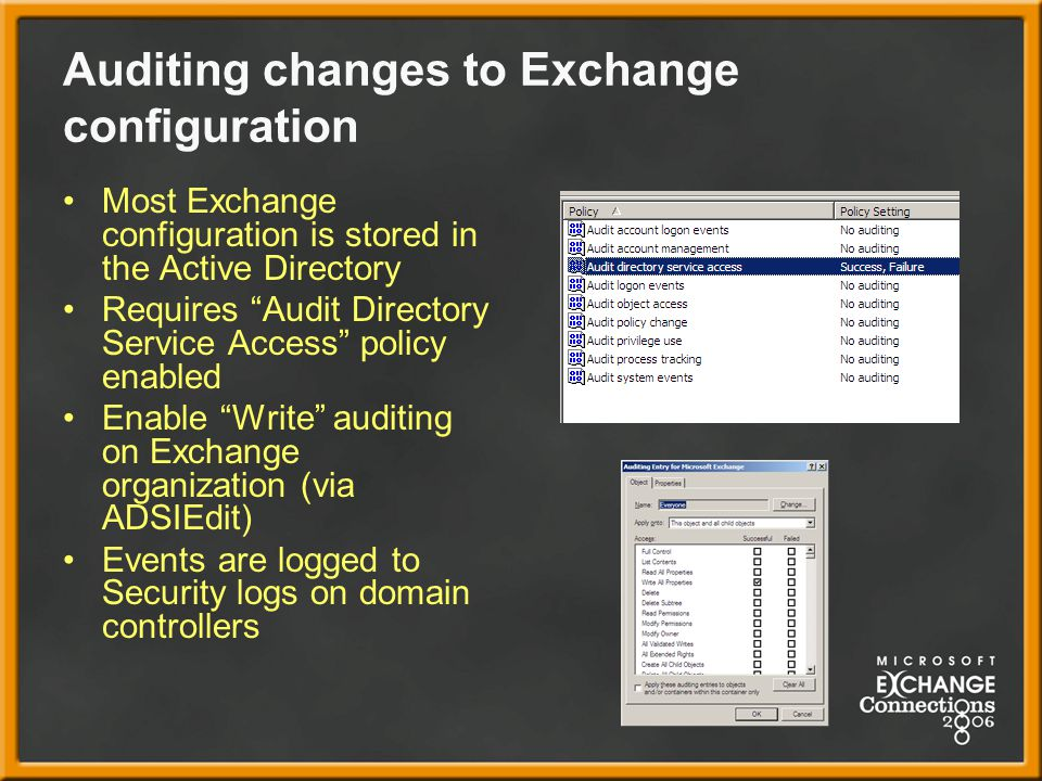 Auditing changes to Exchange configuration