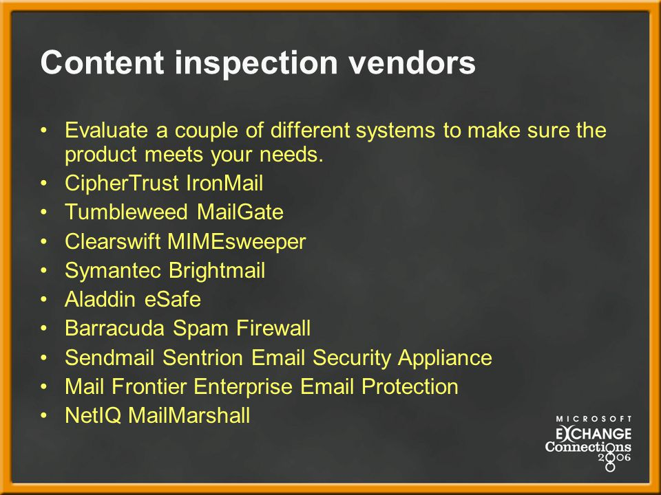 Content inspection vendors