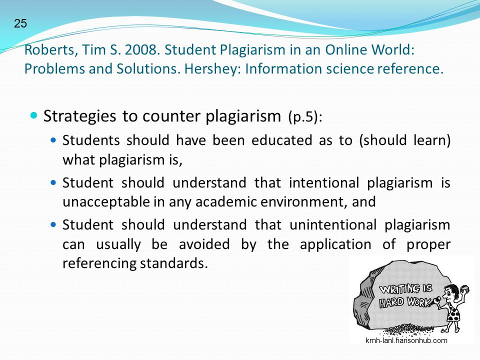 Strategies to counter plagiarism (p.5):