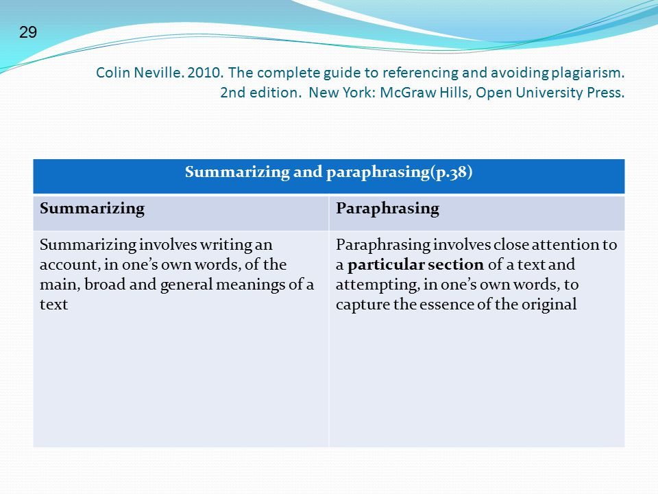 Summarizing and paraphrasing(p.38)