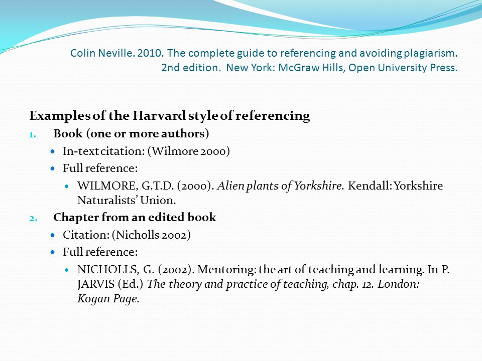 Examples of the Harvard style of referencing
