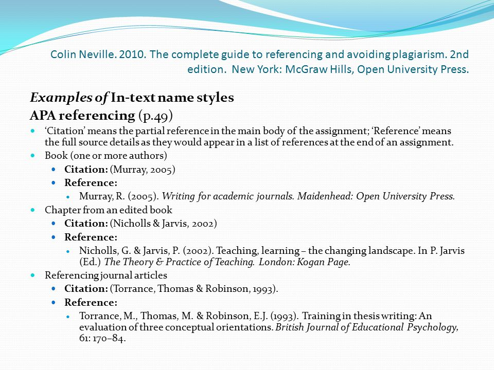 Examples of In-text name styles APA referencing (p.49)