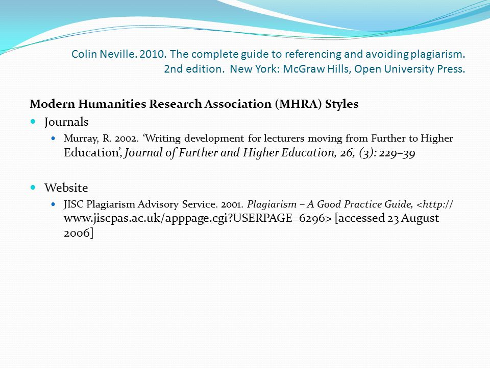 Modern Humanities Research Association (MHRA) Styles Journals