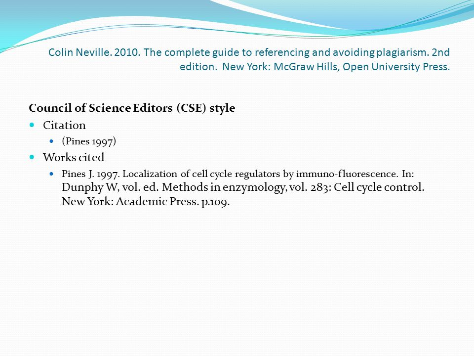 Council of Science Editors (CSE) style Citation Works cited