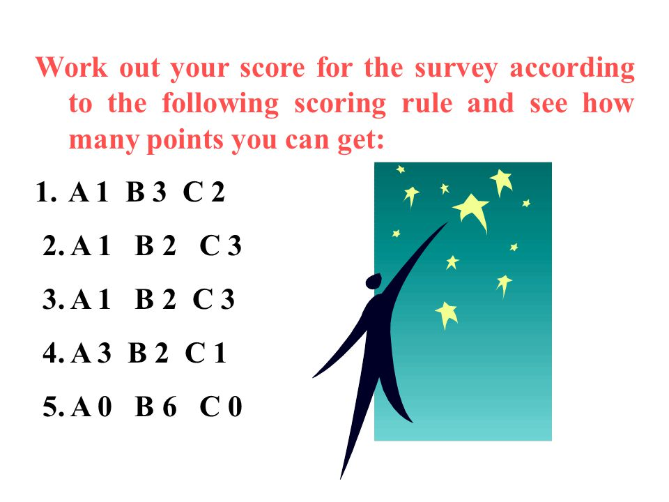 Work out your score for the survey according to the following scoring rule and see how many points you can get: