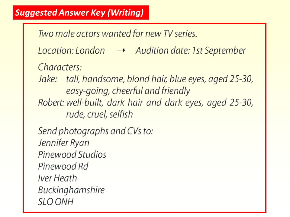 Suggested Answer Key (Writing)