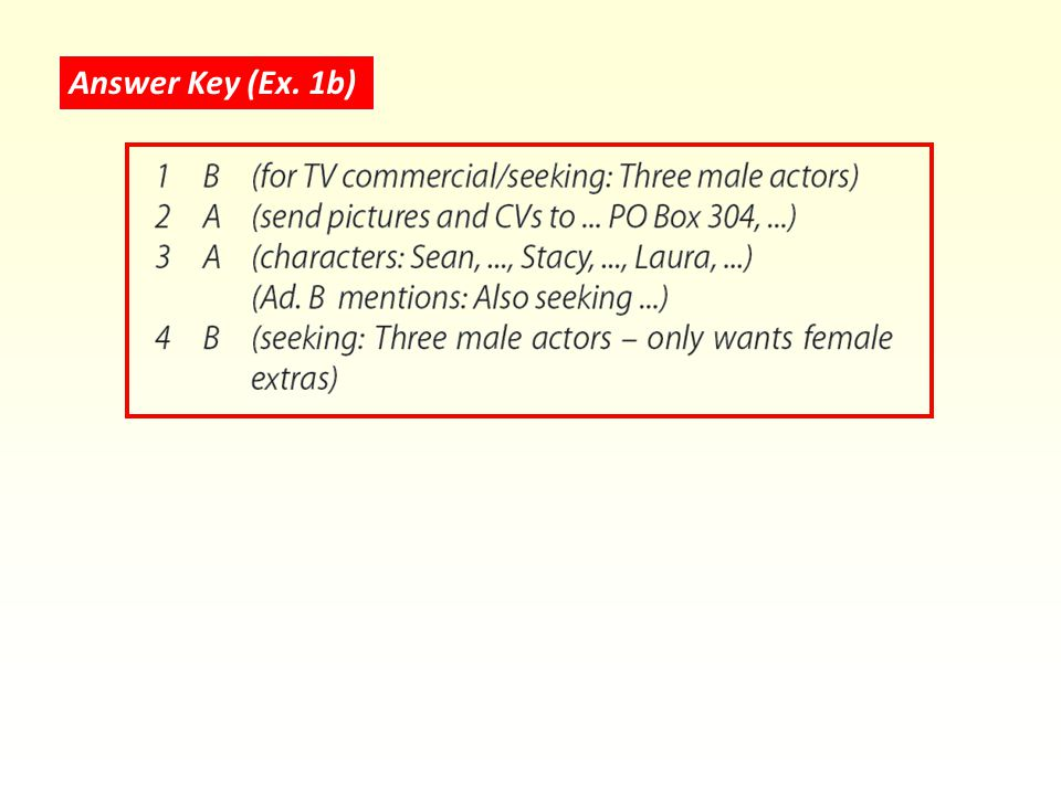 Answer Key (Ex. 1b)