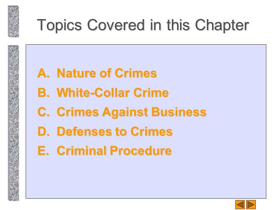 Topics Covered in this Chapter