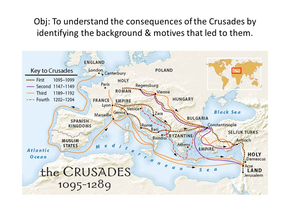 Obj: To understand the consequences of the Crusades by identifying the background & motives that led to them.