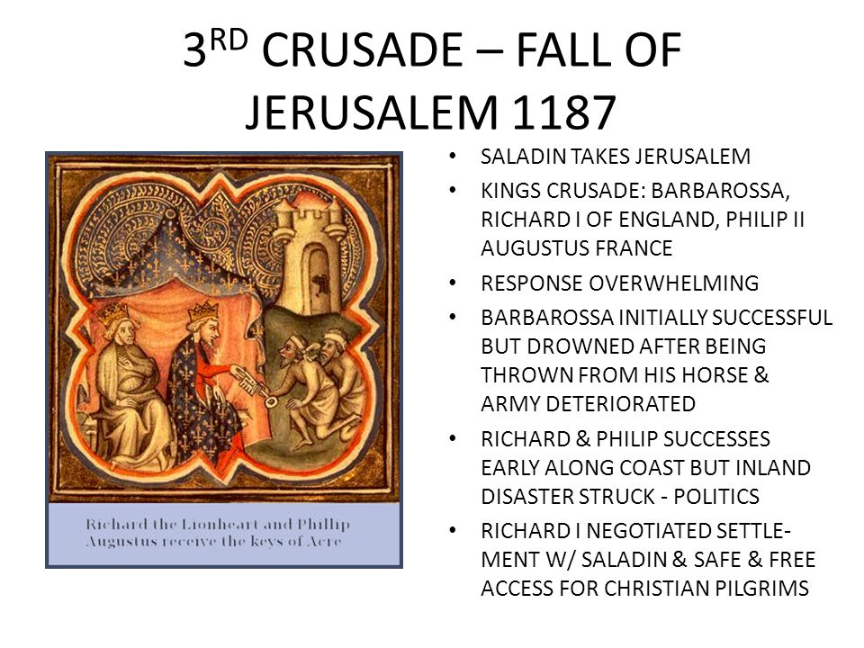 3RD CRUSADE – FALL OF JERUSALEM 1187