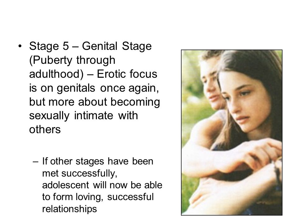 Stage 5 – Genital Stage (Puberty through adulthood) – Erotic focus is on genitals once again, but more about becoming sexually intimate with others