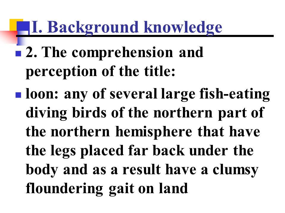 I. Background knowledge