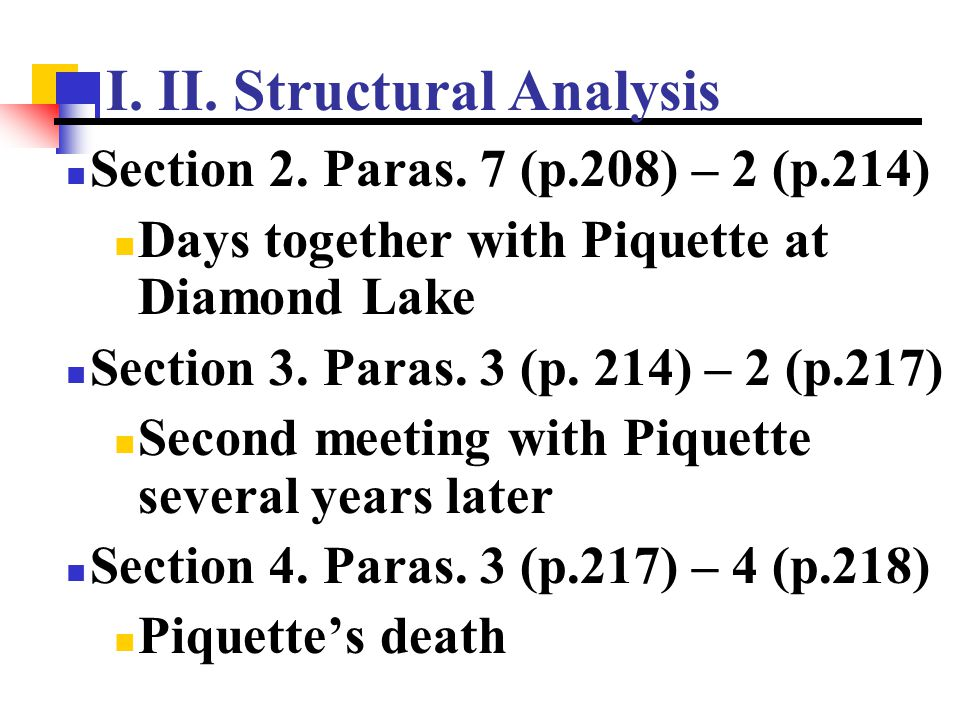 I. II. Structural Analysis