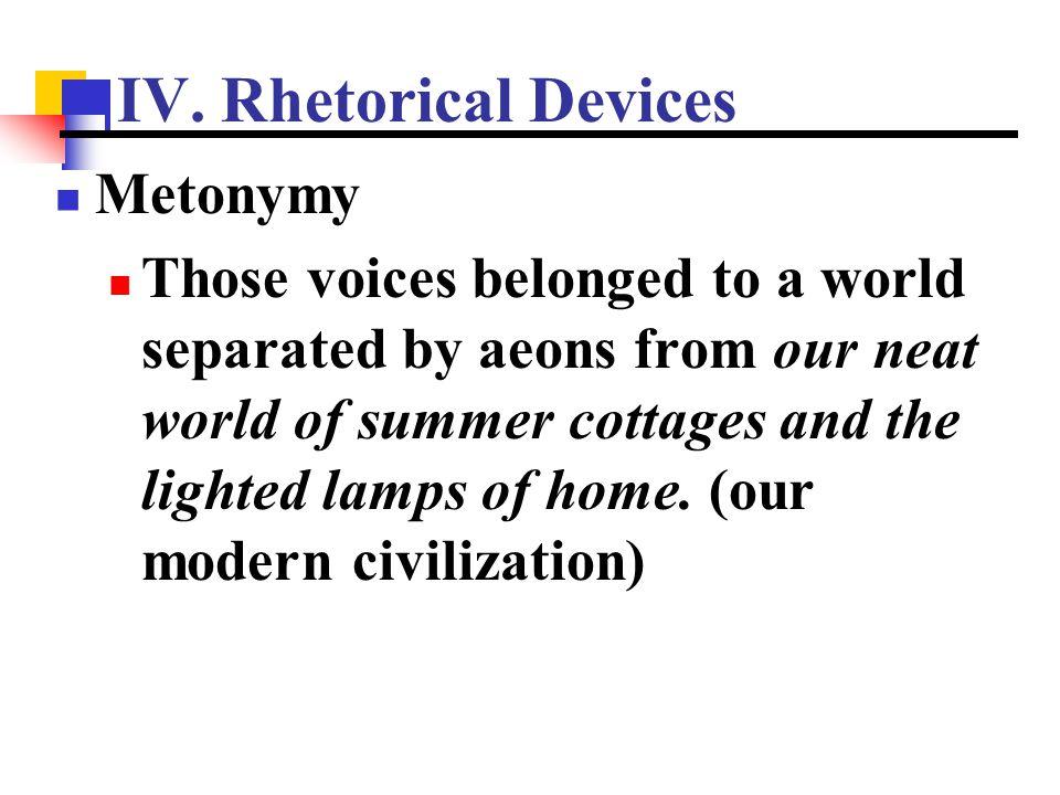 IV. Rhetorical Devices Metonymy